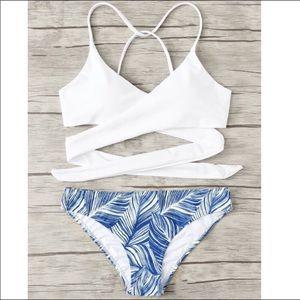Criss Cross Wrap Top With Leaf Print Bikini Set